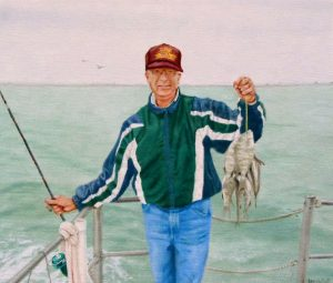 Oil Painting: Portrait of a man fishing