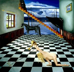 Surrealistic oil painting: The Dark Horse