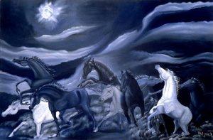 Surrealistic oil painting: Escape