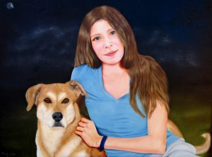 Oil Painting: Portrait of a girl and her dog