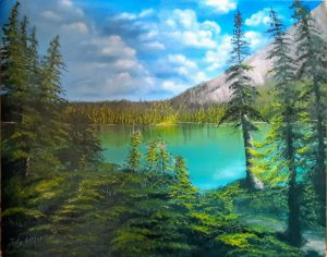 Oil Painting: Landscape of mountain lake