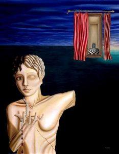 Surrealistic oil painting: Avarice