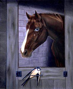 Surrealistic oil painting: Sorrow