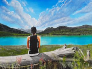 Oil painting of girl looking out over mountain lake