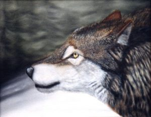 Oil painting of wolf